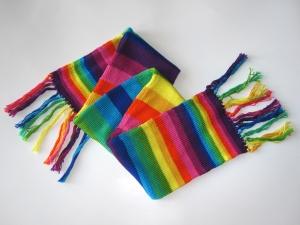 rainbow stripe scarf fringe ref s