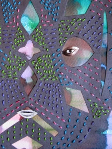 stitched mask close up s