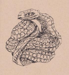 coiled snake netsuke  nib pen s