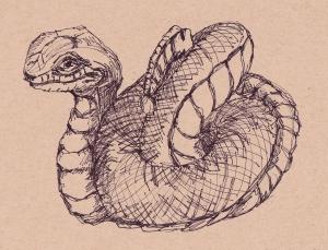 coiled snake netsuke  sharpie s