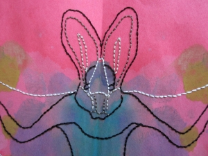 embroidered bat close up s