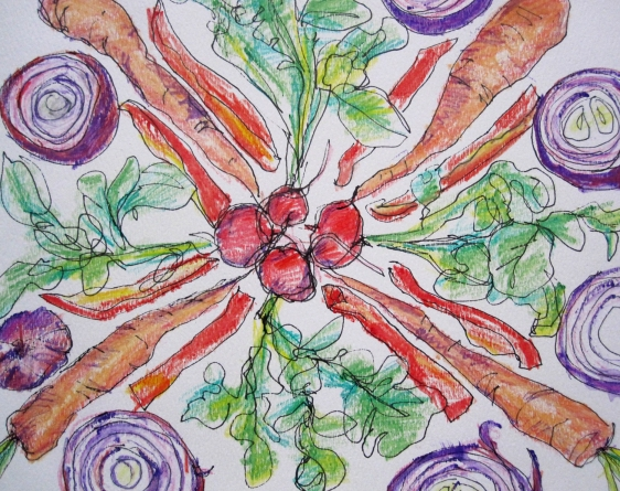 vegetable mandala close up s