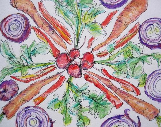 vegetable mandala close up s