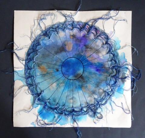 stitched blue tondo undone s